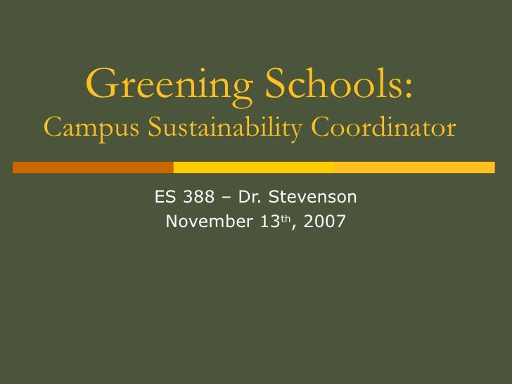 Career   Campus Sustainability Coordinator