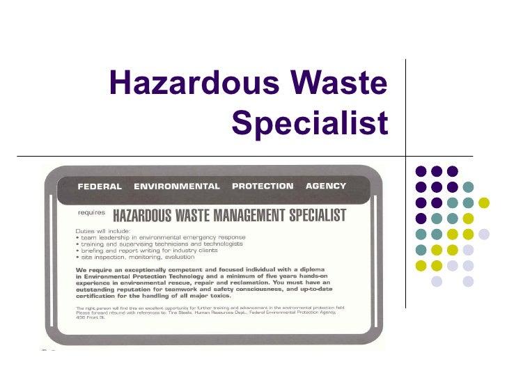 Career   Hazardouse Waste Specialist