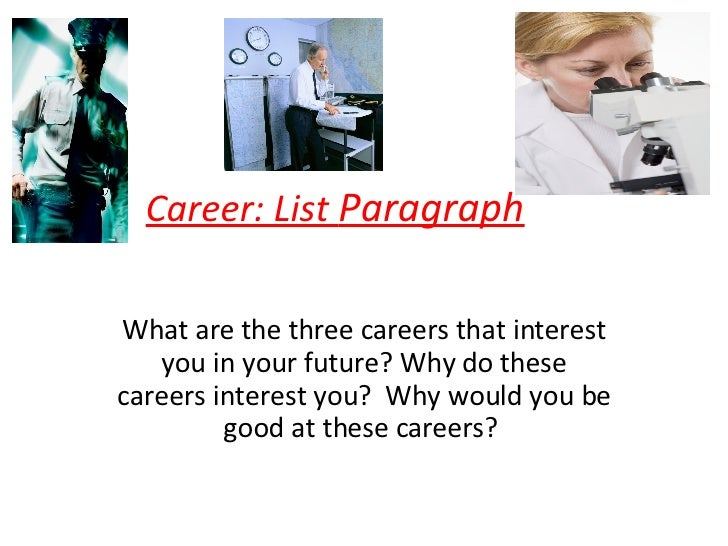 Career: List  Paragraph What are the three careers that interest you in your future? Why do these careers interest you?  W...