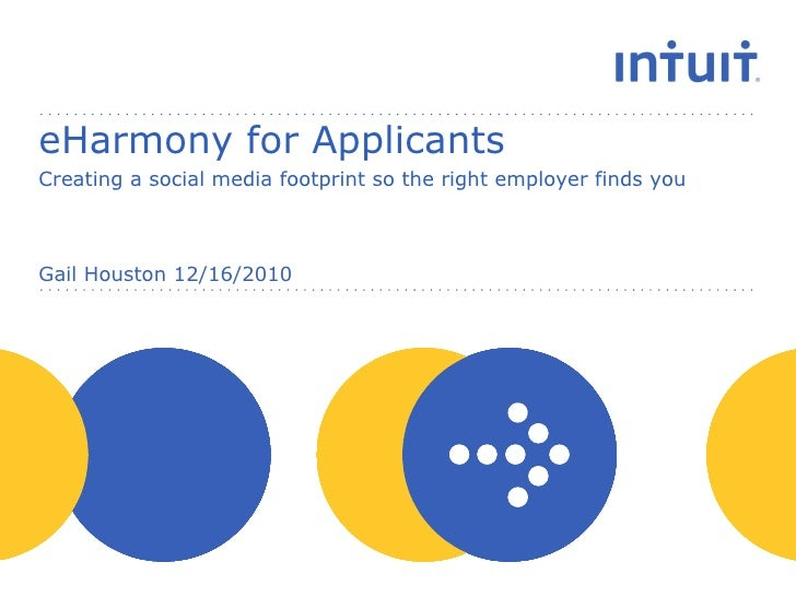eHarmony for Applicants Creating a social media footprint so the right employer finds you Gail Houston 12/16/2010