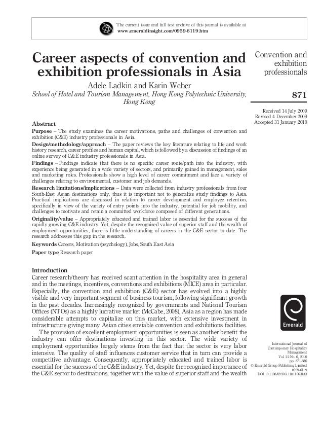 Career aspects of convention and exhibition professionals in Asia Adele Ladkin and Karin Weber School of Hotel and Tourism...