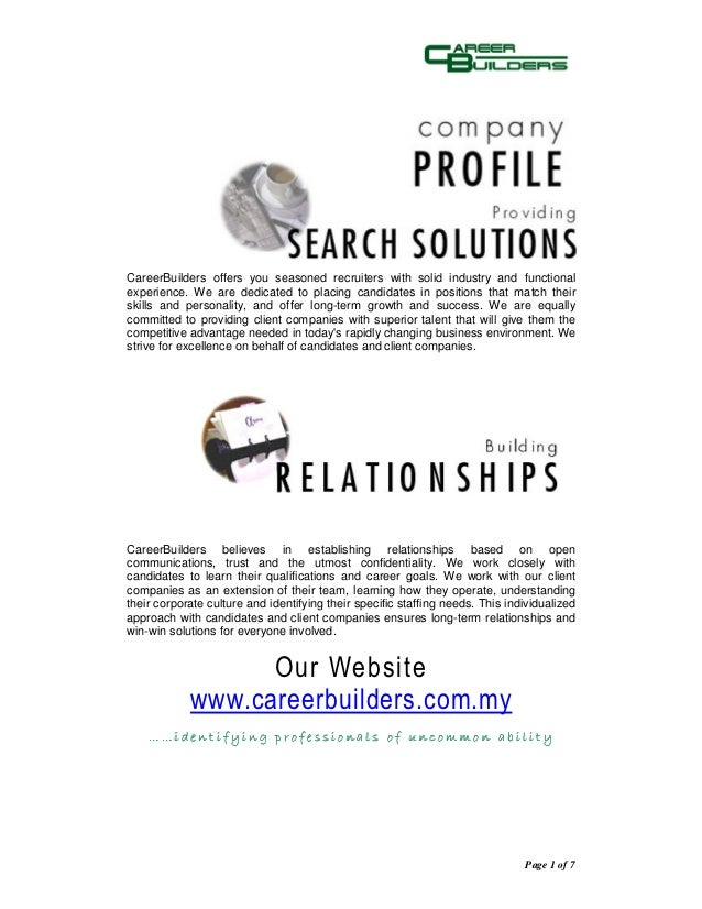 CareerBuilders offers you seasoned recruiters with solid industry and functionalexperience. We are dedicated to placing ca...