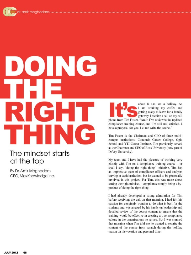 Career College Central Article - Doing the Right Thing