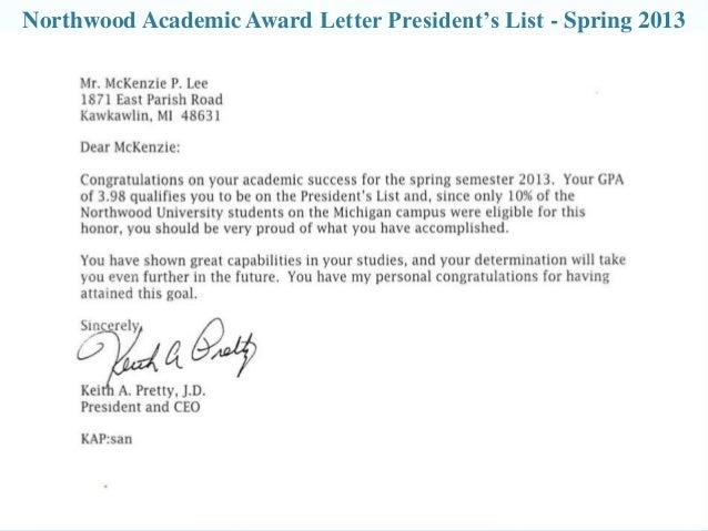 northwood academic award letter deans list fall 2012 10