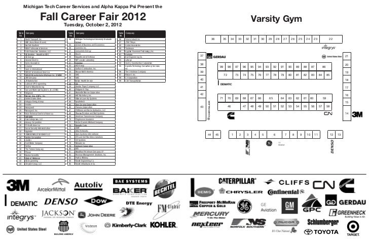 Fall 2012 Career Fair Map - Varsity Gym