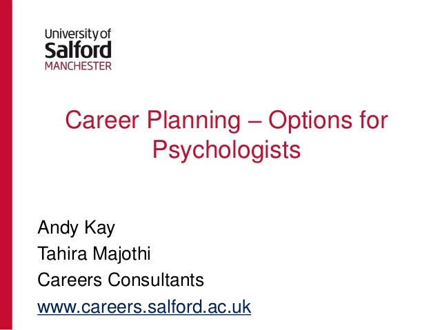 Career Planning – Options for Psychologists Andy Kay Tahira Majothi Careers Consultants www.careers.salford.ac.uk