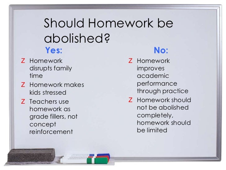 school homework should be abolished A child learns at school for a long time and if his learning process with the addition of homework is extended, it will add a burden that will be difficult to bear homework is, therefore, an unnecessary burden it should be abolished immediately learning with homework is, therefore, a continuous torture for the children.