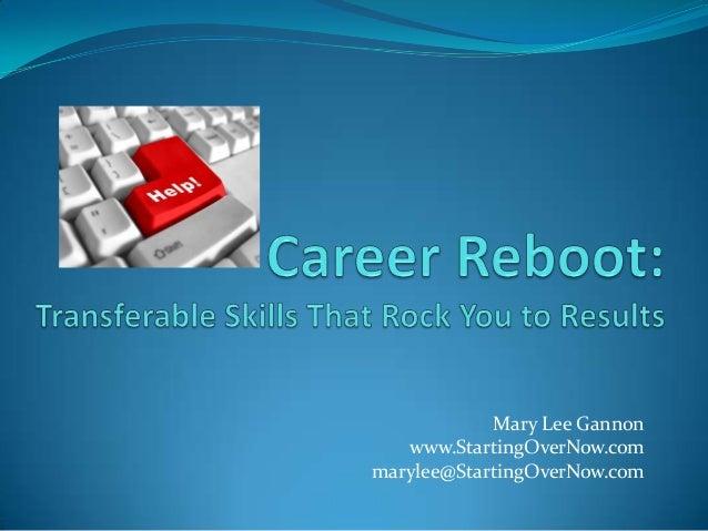 Mary Lee Gannon www.StartingOverNow.com marylee@StartingOverNow.com