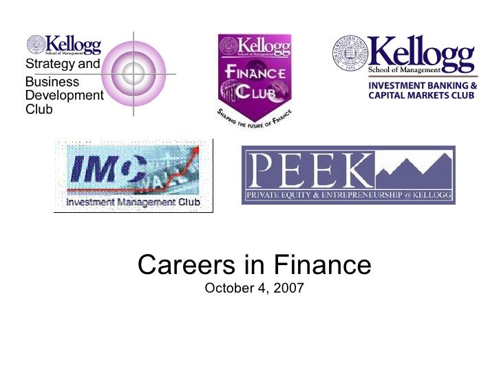 Careers in Finance October 4, 2007