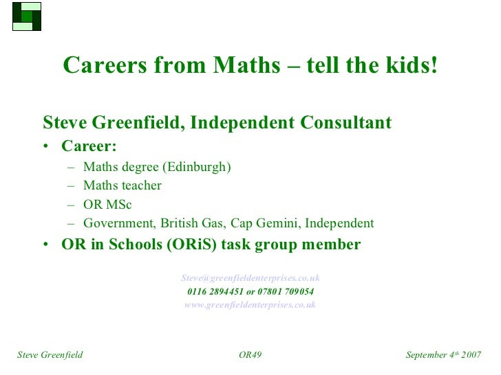 Careers from maths – tell the kids!