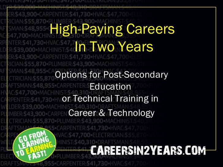 High-Paying Careers    In Two YearsOptions for Post-Secondary        Education or Technical Training in   Career & Technol...