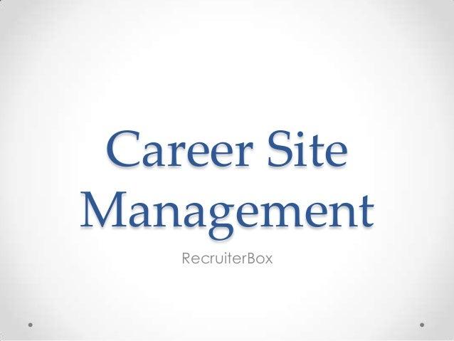 Career Site Management RecruiterBox