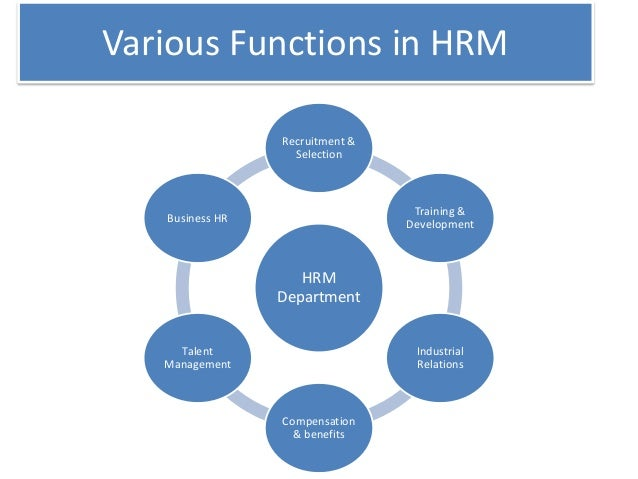 function of human resource management Some of the major functions of human resource management are as follows: 1 managerial functions 2 operative functions 3 advisory functions human resource or personnel department is established in most of the organisations, under the charge of an executive known as human resource/personnel manager.