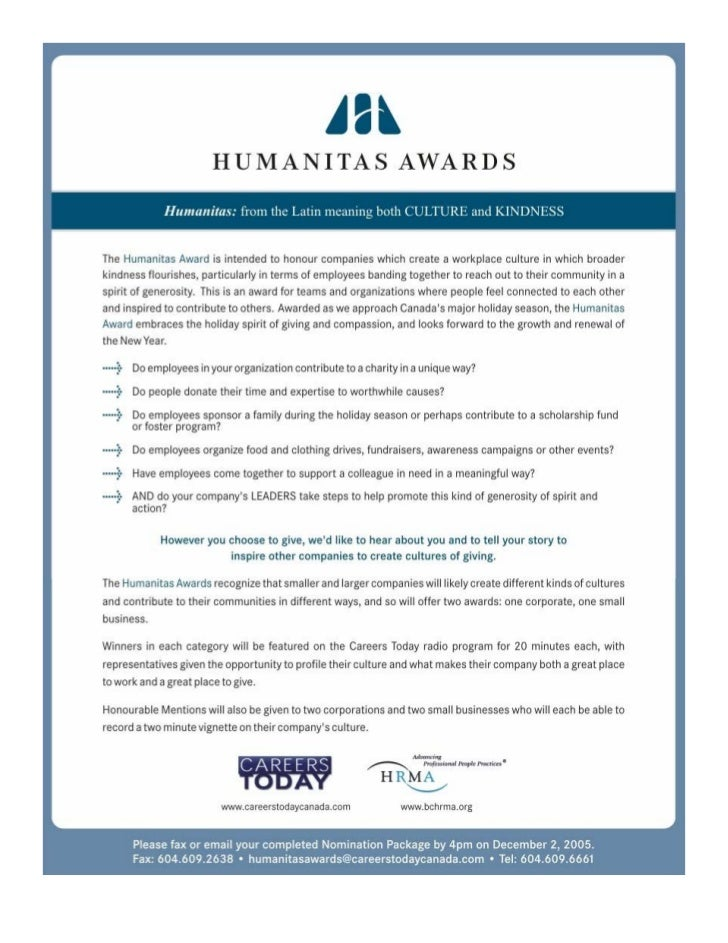 Careers Today Canada presents the first annual Humanitas Awards