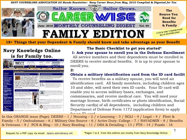 FAMILY EDITION The Source You  Need for Benefits & Family NAVY COUNSELORS ASSOCIATION All Hands Newsletter:  Navy Career N...