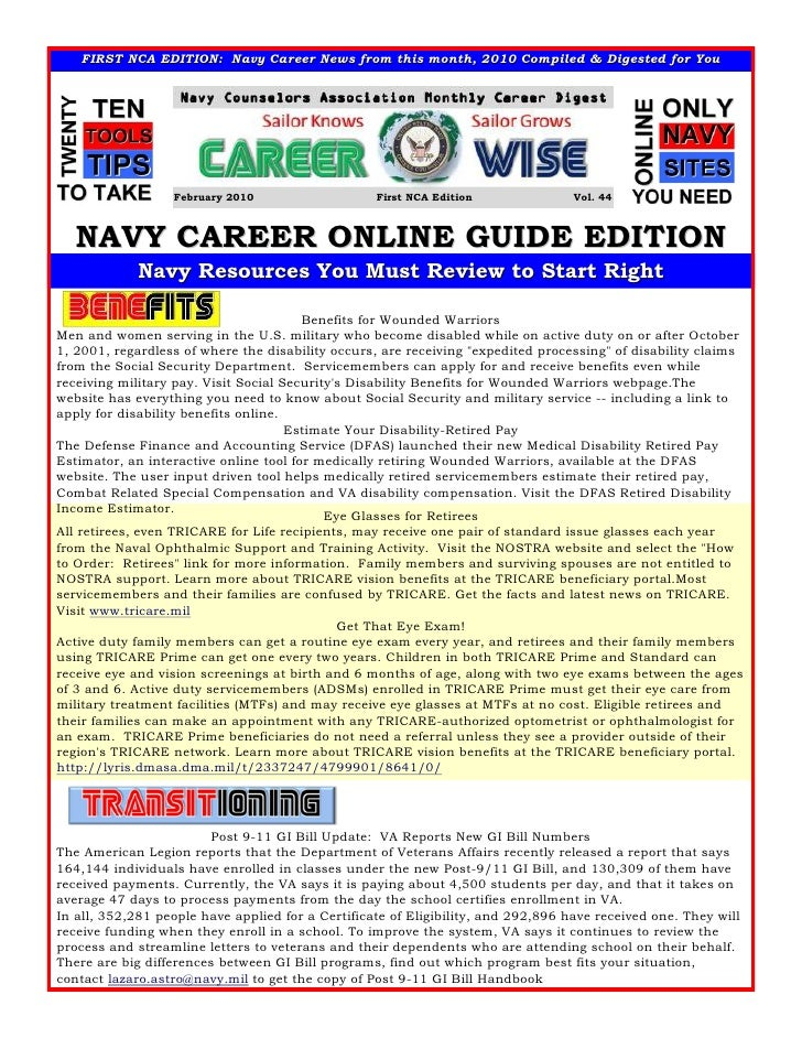 FIRST NCA EDITION: Navy Career News from this month, 2010 Compiled & Digested for You                                     ...
