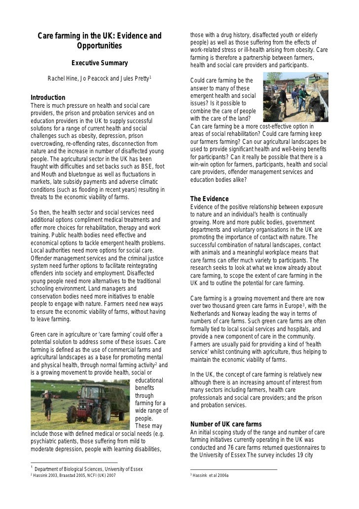 Care farming in the UK: Evidence and                   those with a drug history, disaffected youth or elderly            ...