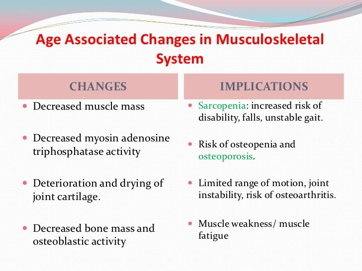 the aging musculoskeletal system essay Arthritis – as we age, our joint tissues become less resilient to wear and tear and  start to degenerate manifesting as swelling, pain, and oftentimes, loss of.