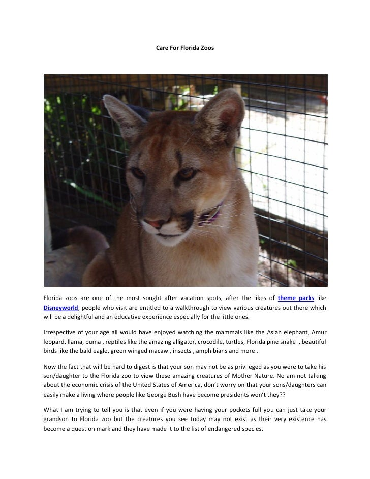 Care for florida zoos