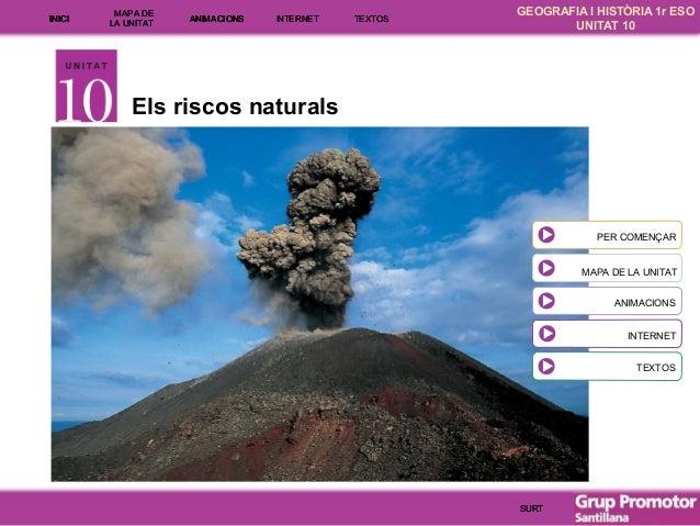 INICI  MAPA DE LA UNITA T  ANIMACIONS  INTE RNE T  TEXTOS  GEOGRAFIA I HISTÒRIA 1r ESO UNITAT 10  Els riscos naturals  PER...