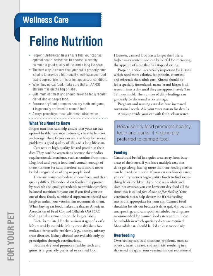 Wellness Care                Feline Nutrition                •	 Proper nutrition can help ensure that your cat has        ...