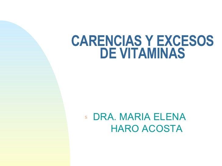CARENCIAS Y EXCESOS DE VITAMINAS <ul><li>DRA. MARIA ELENA   HARO ACOSTA </li></ul>
