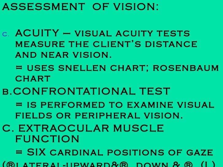 <ul><li>ASSESSMENT  OF VISION: </li></ul><ul><li>ACUITY – visual acuity tests measure the client's distance and near visio...