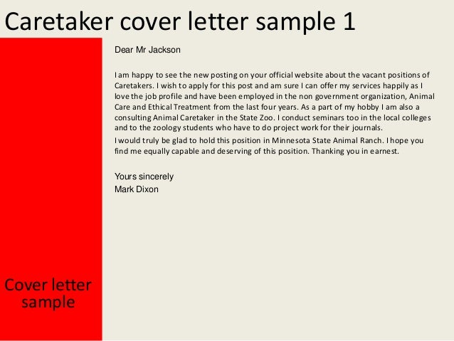 caretaker cover letter With cover letter for caretaker position