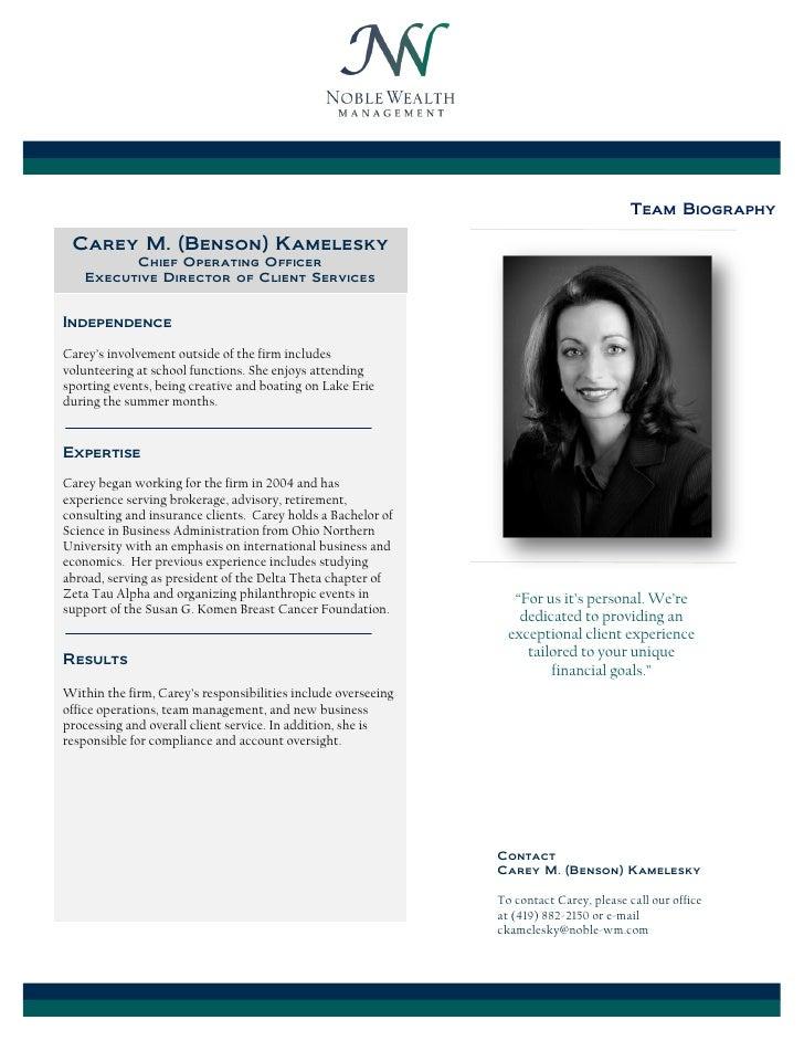 Carey Benson Kamelesky Biography