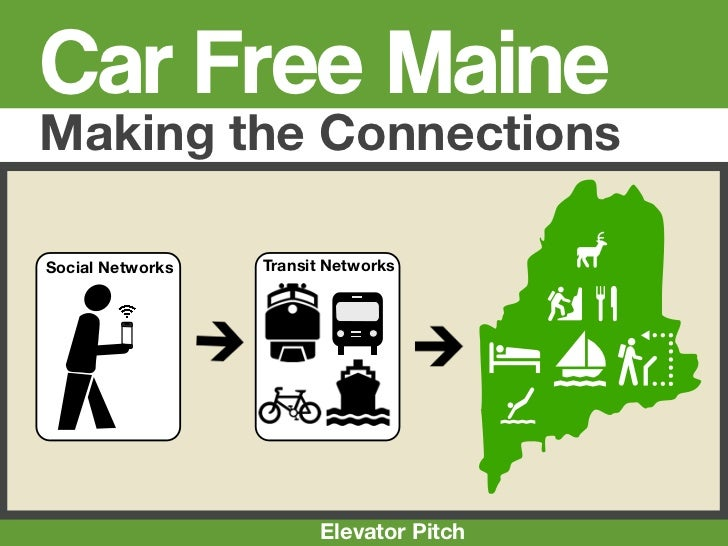 CarFree Maine Social Transportation, Elevator Pitch