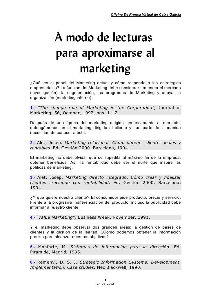 Oficina De Prensa Virtual de Caixa Galicia                  A modo de lecturas              para aproximarse al           ...