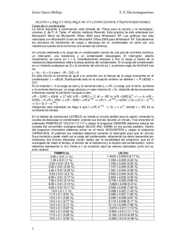 Javier García Molleja T. E. Electromagnetismo 1 SESIÓN 3. CARGA Y DESCARGA DE UN CONDENSADOR Y TRANSFORMADORES. Carga de u...