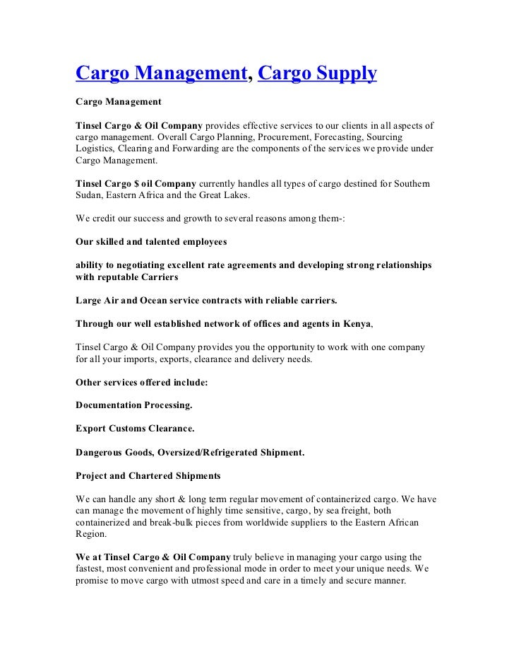 Cargo management, cargo supply