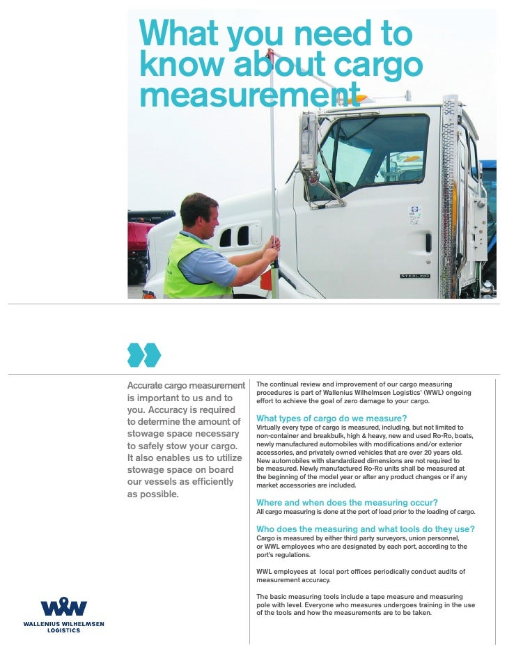 What you need to   know about cargo   measurement     Accurate cargo measurement      The continual review and improvement...