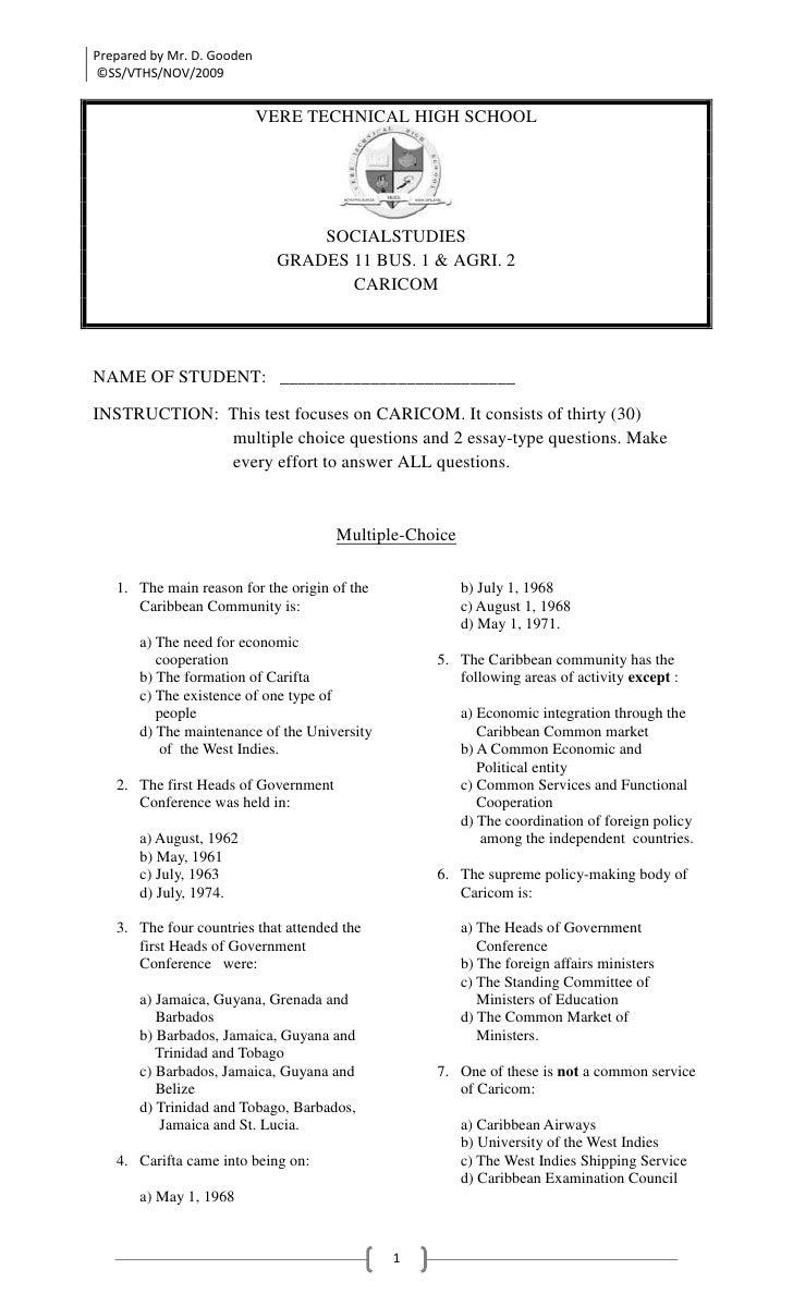 Caricom Test