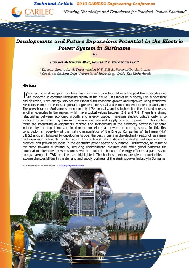 Developments and Future Expansions Potential in the Electric Power System in Suriname