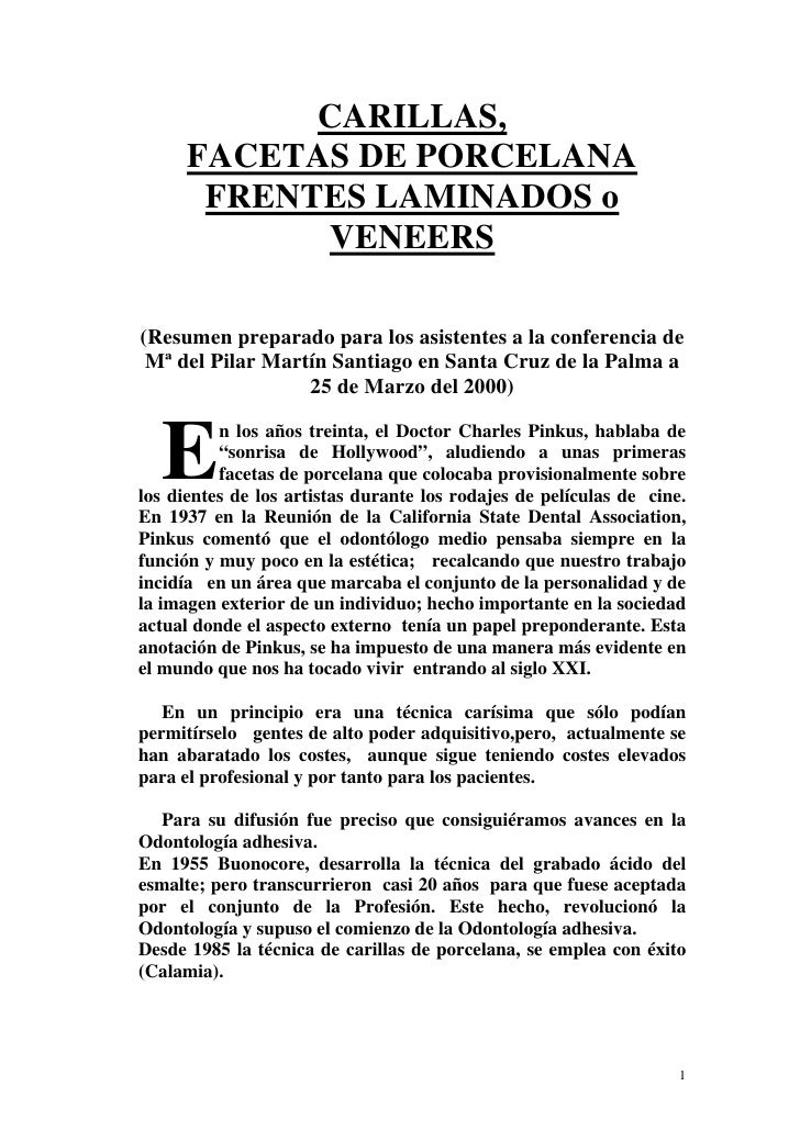 CARILLAS,       FACETAS DE PORCELANA        FRENTES LAMINADOS o             VENEERS  (Resumen preparado para los asistente...