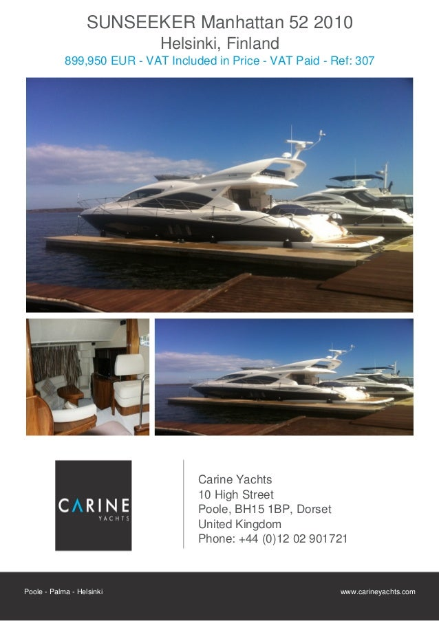 SUNSEEKER Manhattan 52, 2010, 899.950 € For Sale Flyer. Presented By carineyachts.com