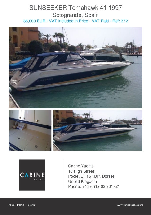 SUNSEEKER Tomahawk 41, 1997, 88.000 € For Sale Flyer. Presented By carineyachts.com