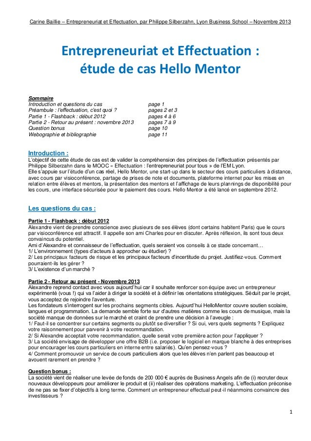 Effectuation : Hello Mentor (étude de cas, 2013)