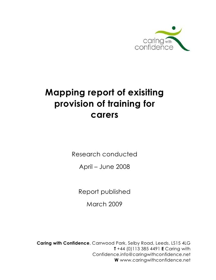 Caring with confidence mapping report
