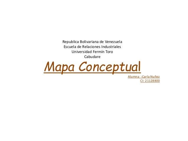 Republica Bolivariana de Venezuela Escuela de Relaciones Industriales Universidad Fermín Toro Cabudare Mapa Conceptual Alu...