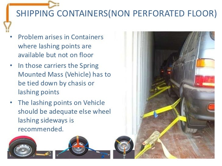 SHIPPING CONTAINERS(NON PERFORATED FLOOR)• Problem arises in Containers  where lashing points are  available but not on fl...