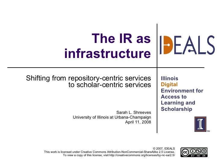The IR as infrastructure Shifting from repository-centric services to scholar-centric services Sarah L. Shreeves Universit...