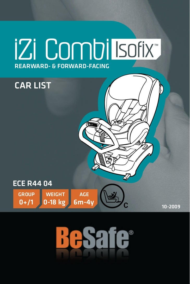 Voertuiglijst voor de HTS BeSafe Combi isofix
