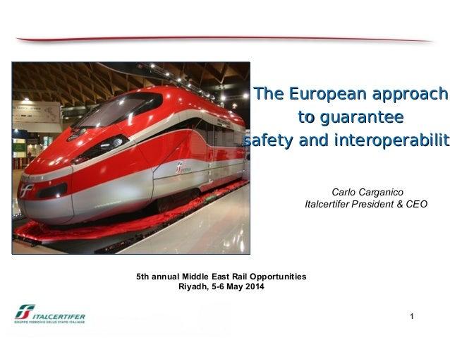 1 5th annual Middle East Rail Opportunities Riyadh, 5-6 May 2014 Carlo Carganico Italcertifer President & CEO The European...