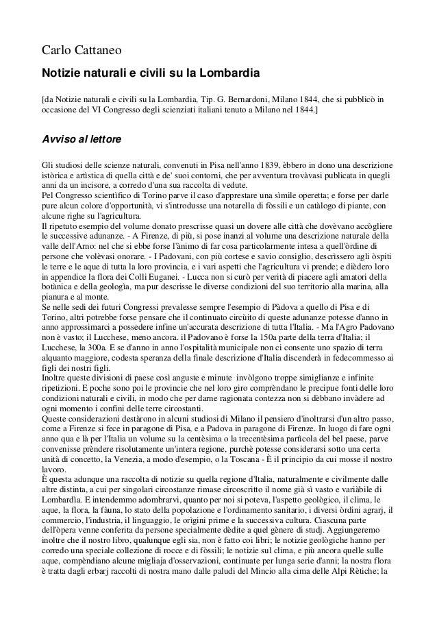 Carlo Cattaneo Notizie naturali e civili su la Lombardia [da Notizie naturali e civili su la Lombardia, Tip. G. Bernardoni...