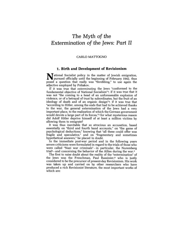 Carlo mattogno   the myth of the extermination of the jews - part ii - journal of historical review volume 8 no. 3