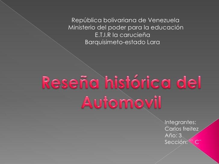 República bolivariana de VenezuelaMinisterio del poder para la educación          E.T.I.R la carucieña      Barquisimeto-e...