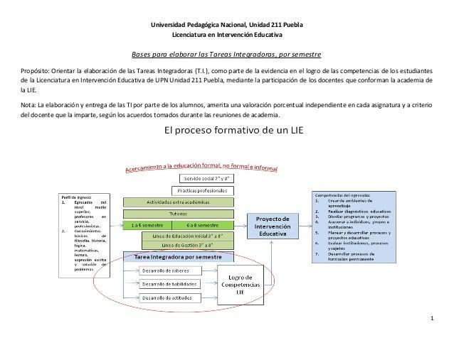 Universidad Pedagógica Nacional, Unidad 211 Puebla Licenciatura en Intervención Educativa Bases para elaborar las Tareas I...